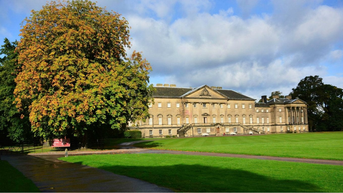 Nostell mansion with autumn tree