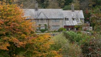 The side view of Coleton Fishacre house in autumn