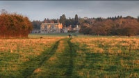 Felbrigg Hall in the distance with dog walkers in front