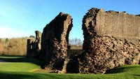 Remains of where the north-west tower at Skenfrith, Monmouthshire, Wales once stood