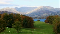 Autumnal view from Wray Castle, Cumbria, looking north
