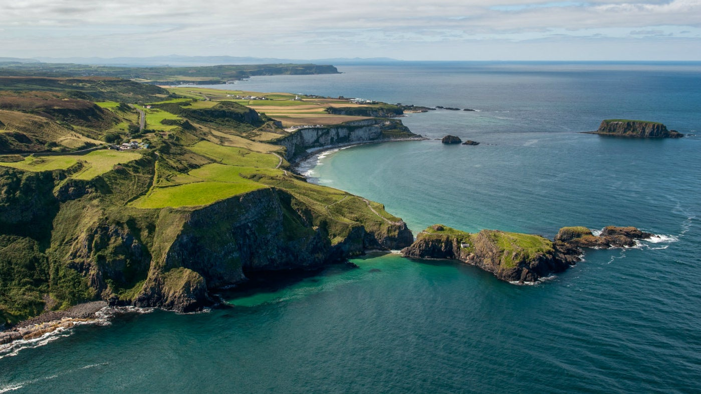 A bird's eye view of Carrick-a-Rede Rope Bridge and Island from the East