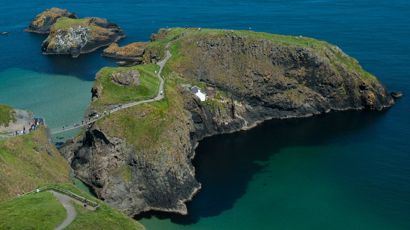 An aerial view of Carrick-a-Rede Rope Bridge