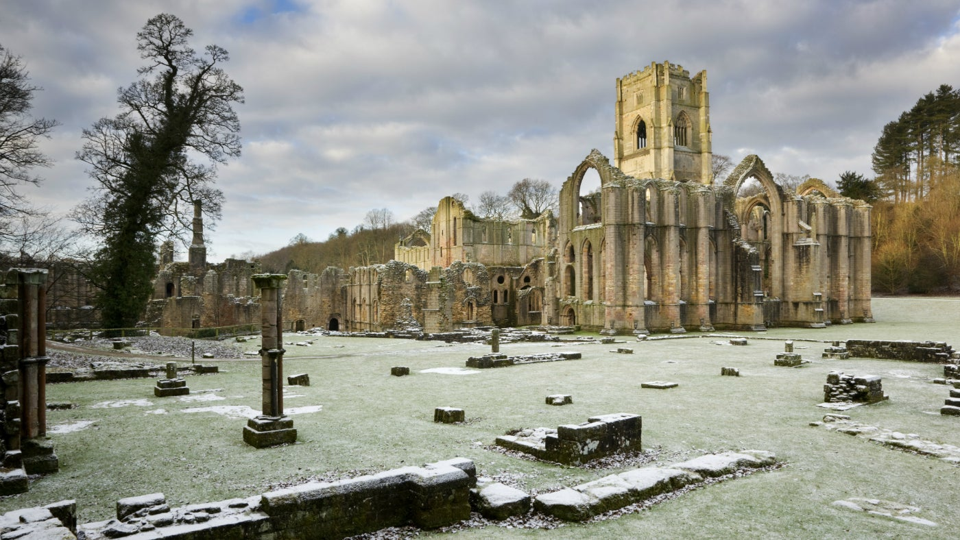 Frost on the ruins at Fountains Abbey