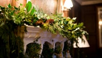 Christmas mantelpiece at Eyam Hall