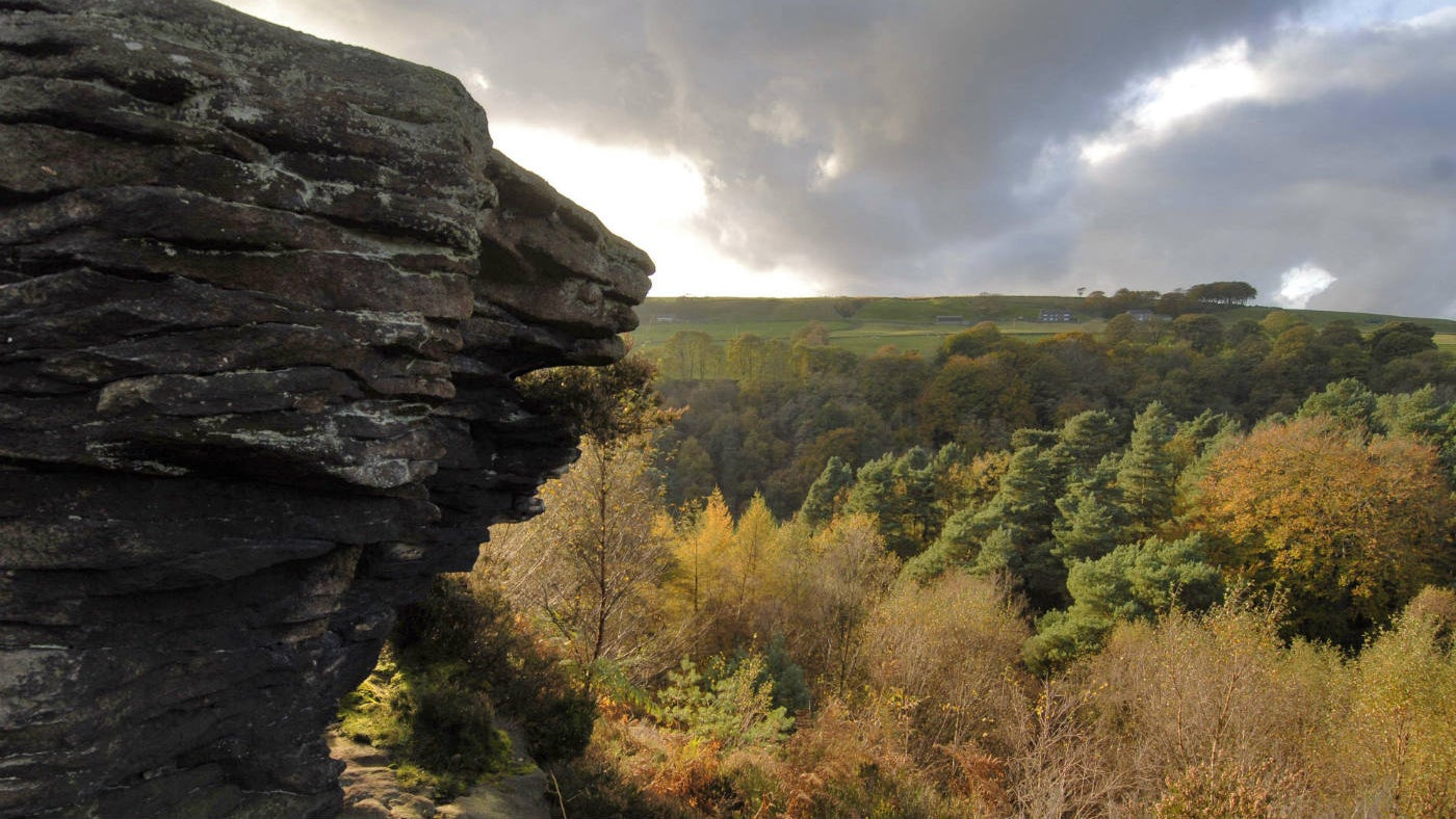 View with crag across the valley at Hardcastle Crags, West Yorkshire