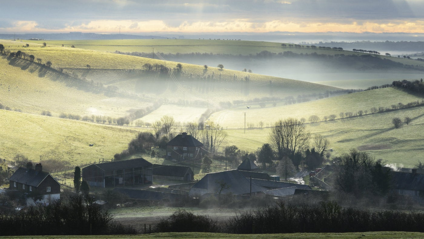 A misty morning at Saddlescombe Farm, seen from Newtimber Hill