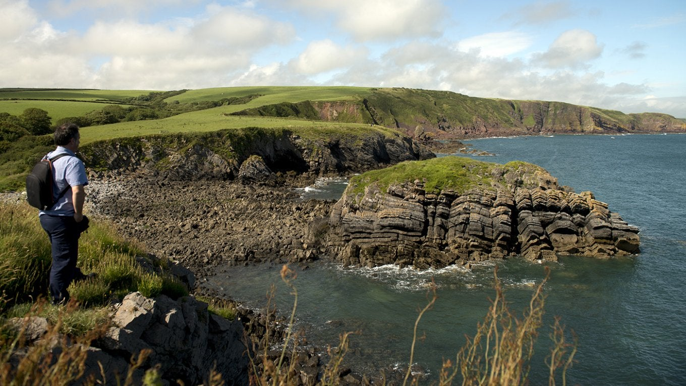 Looking along the Pembrokeshire Coast Path at Stackpole