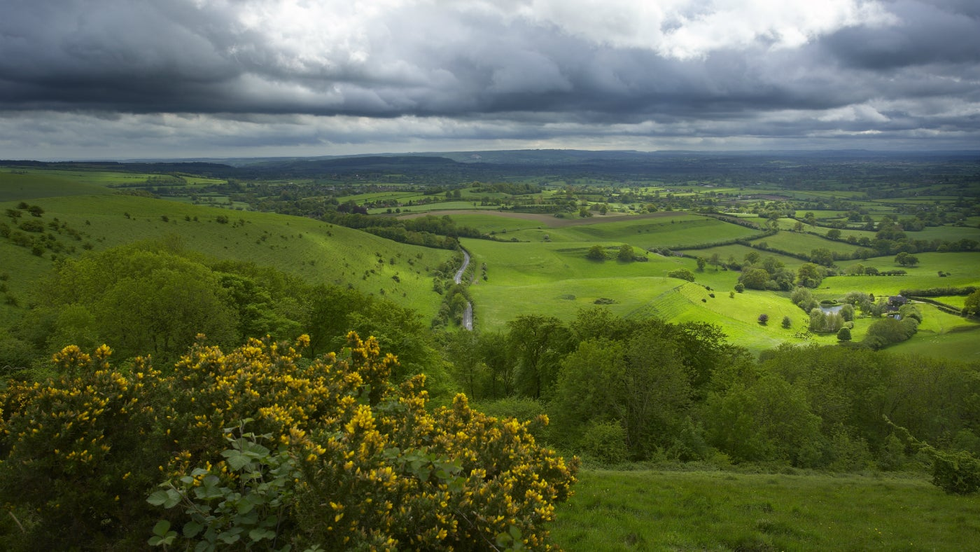 Stormy skies over the Blackmore Vale from Melbury Hill, Melbury Down