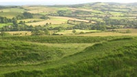 a far reaching view across green countryside from the ramparts of Eggardon Hill