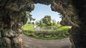 View of the lake from inside the grotto