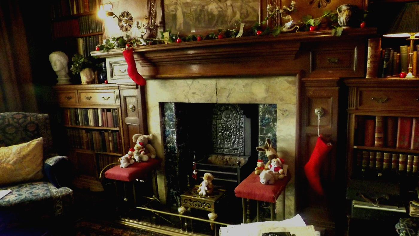 Wightwick Manor Staffordshire, the library decorated for Christmas