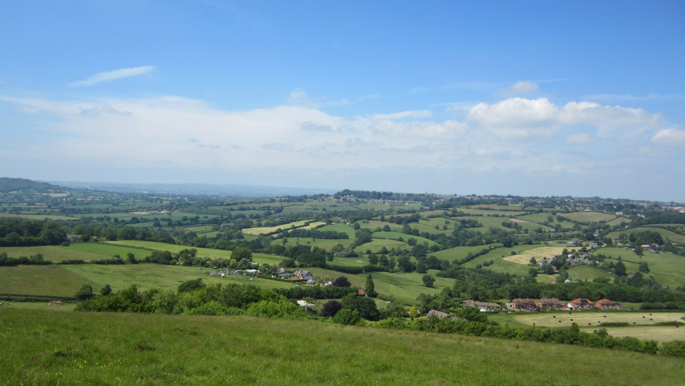 The view looking north towards Shaftesbury from Melbury Hill