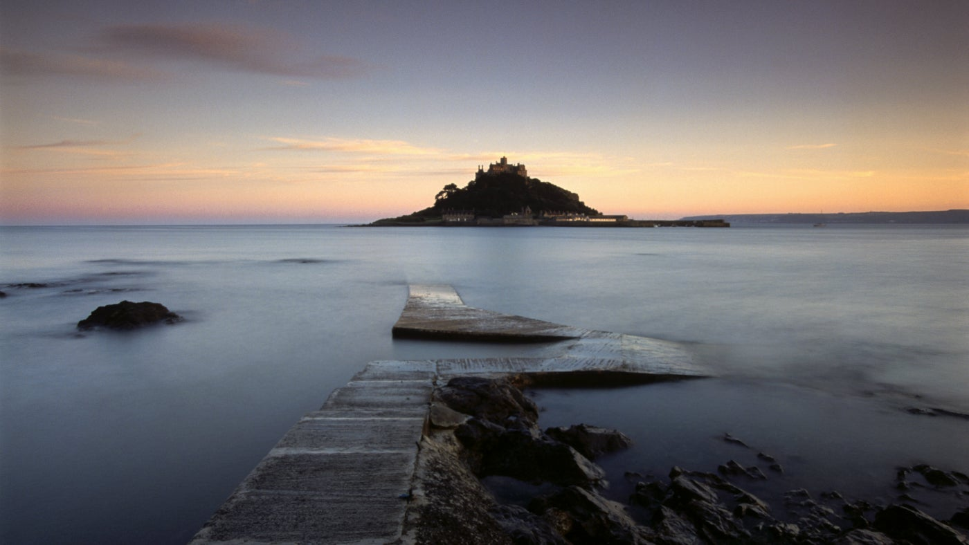 Pink dawn rising over St Michael's Mount, Cornwall