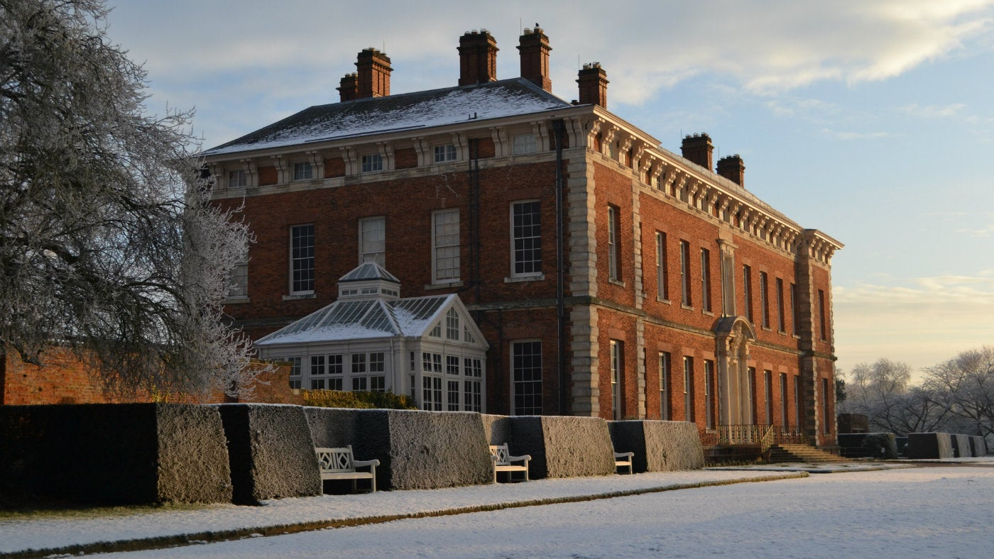 South side of the hall and conservatory in a frosty day
