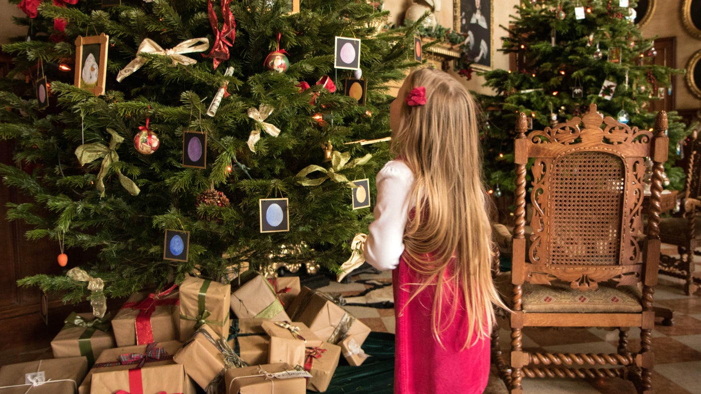 Child looks at Christmas tree in great hall at Charlecote Park