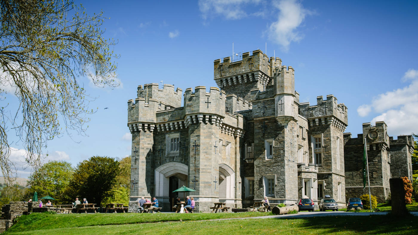 The font of Wray Castle in the summer sun, Ambleside Cumbria