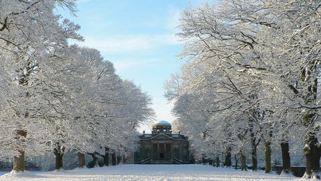 The Avenue and Chapel in snow