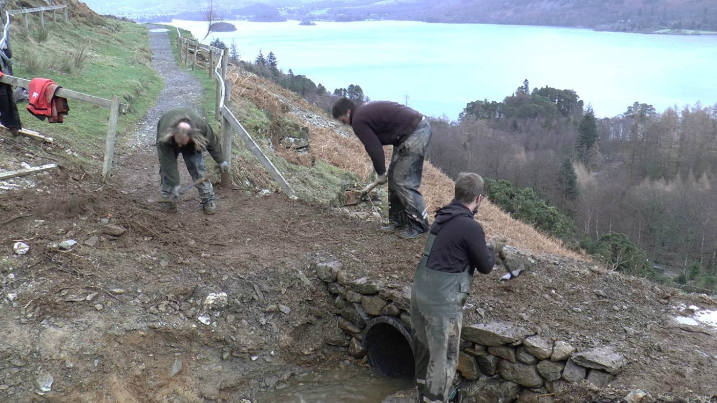 Rangers repairing Cat Bells terrace path