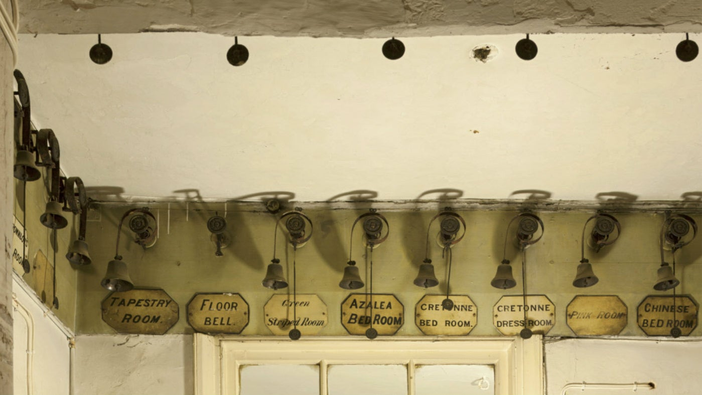 Bells in the servant's areas below stairs at Belton House