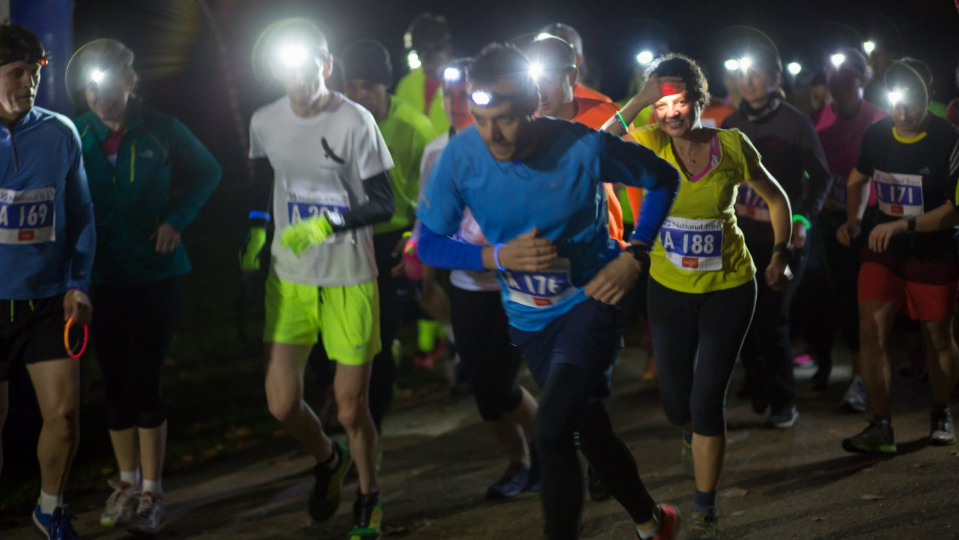 Runners with headlamps head out for Night Run