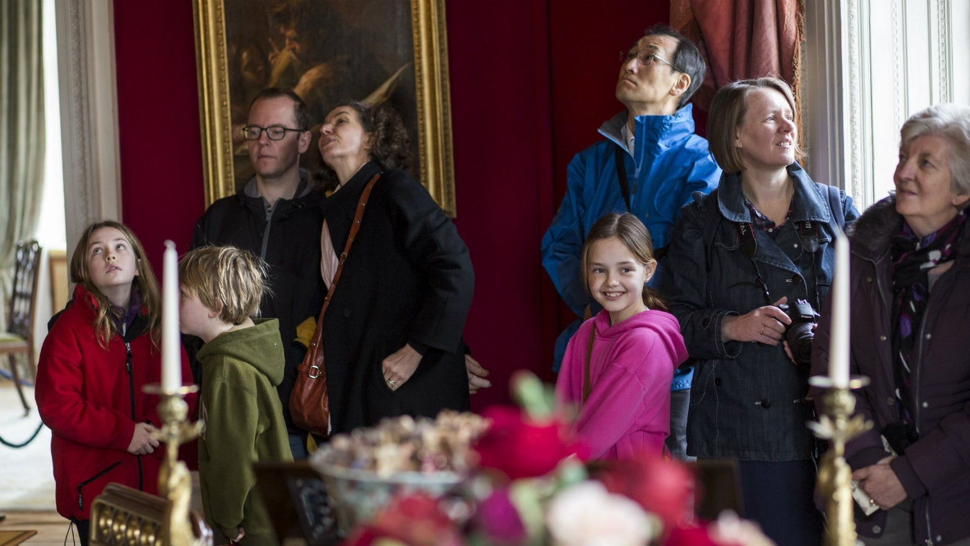 Visitors in the Octagon Room at Basildon Park