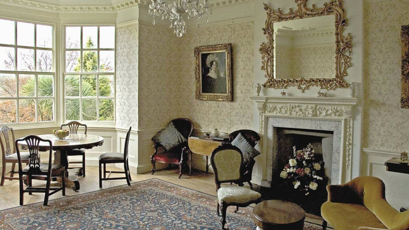 Lawrence House drawing room in Launceston, North Cornwall