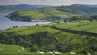 A view of the village of Cushendun from the hills above
