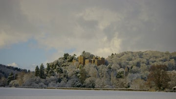 The castle covered in snow