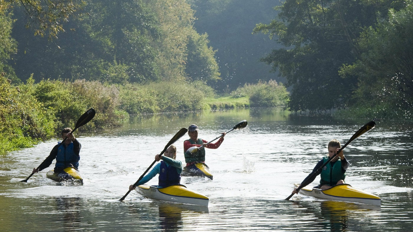 Canoeists on the river Wey