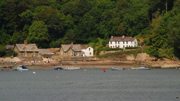 View of Durgan village from the water with trees behind the houses