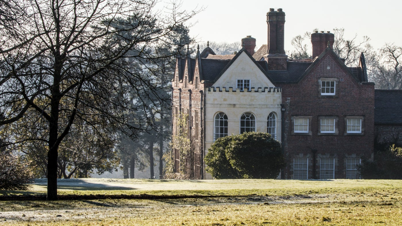 View of the house at Greys Court in the winter from the top lawn