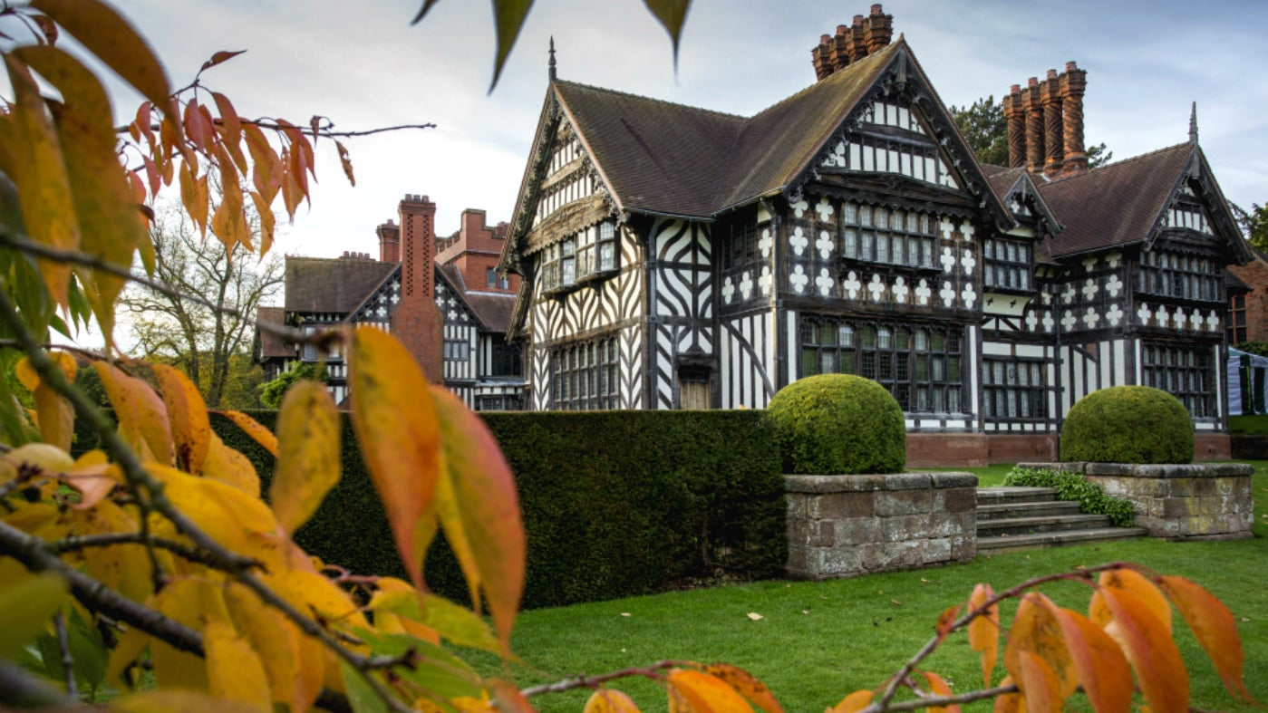 Corner of the east wing from the garden at Wightwick Manor