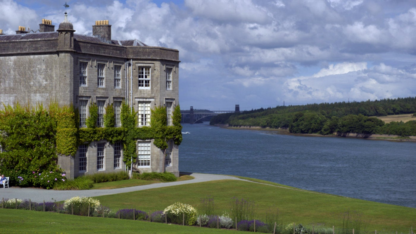 View of the mansion at Plas Newydd with the Menai Strait in the background