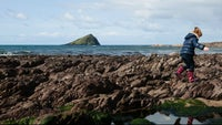 Playing on the rocks at Wembury
