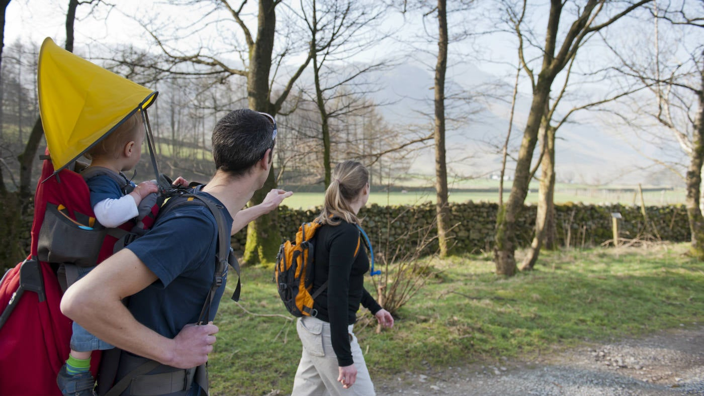 A family walking in Langdale in Cumbria