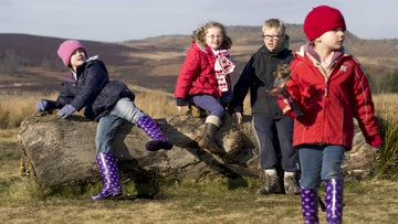 Children playing on a log at Longshaw