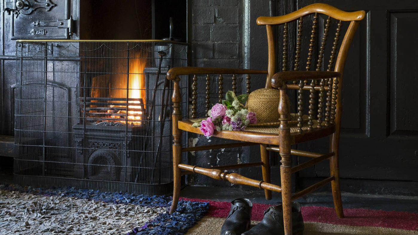 Fire in the kitchen range at Hill Top house, Cumbria
