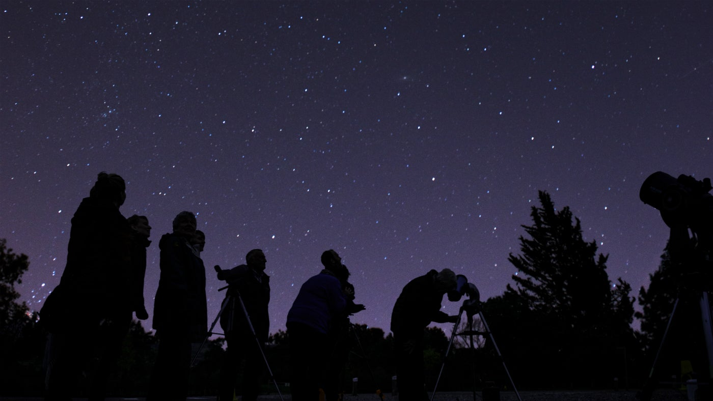 Stargazers looking at the night sky