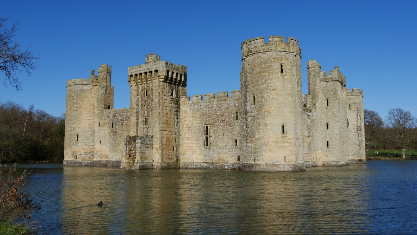 A SE winter view of Bodiam Castle, East Sussex