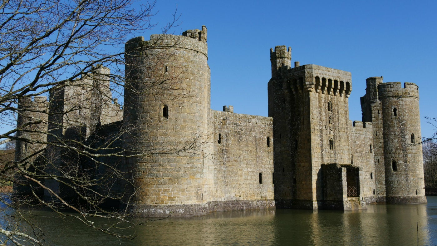 A SW view of Bodiam Castle in East Sussex under clear winter skies
