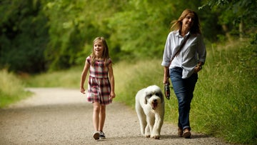 Mum and daughter walk their dog through the spring park at Saltram, Devon