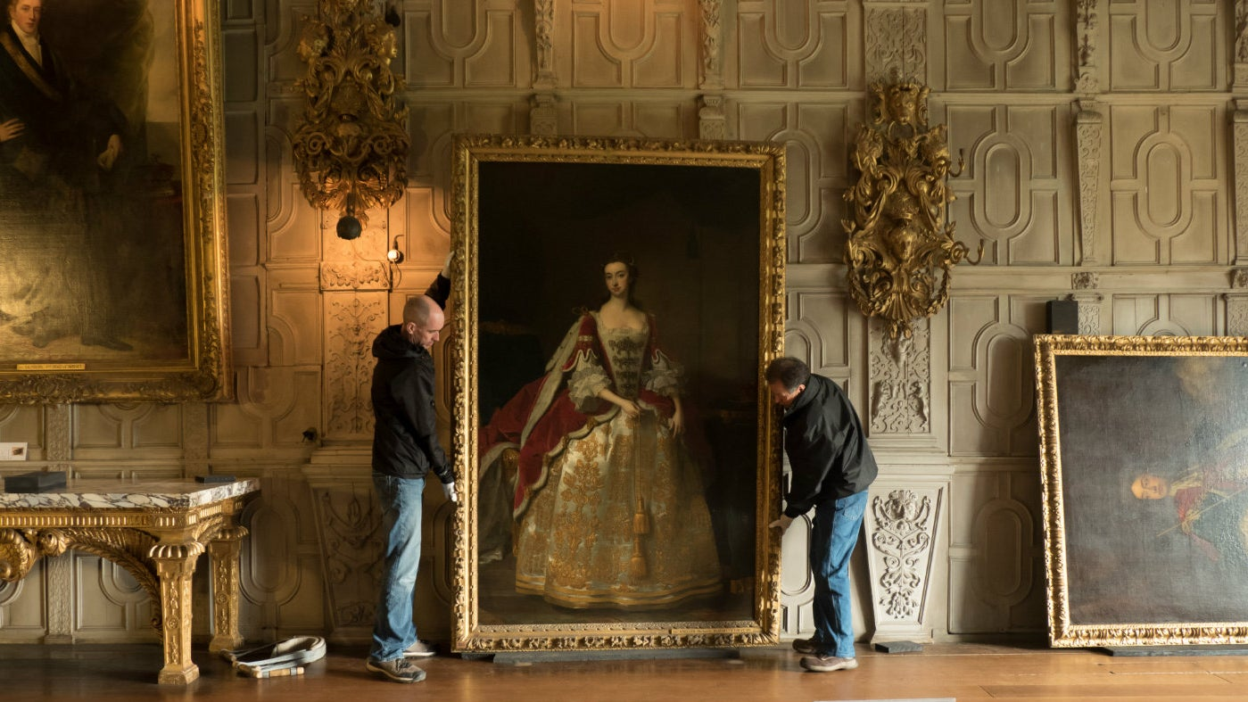 The conservation team have moved key pieces of Knole's collection from the showrooms.