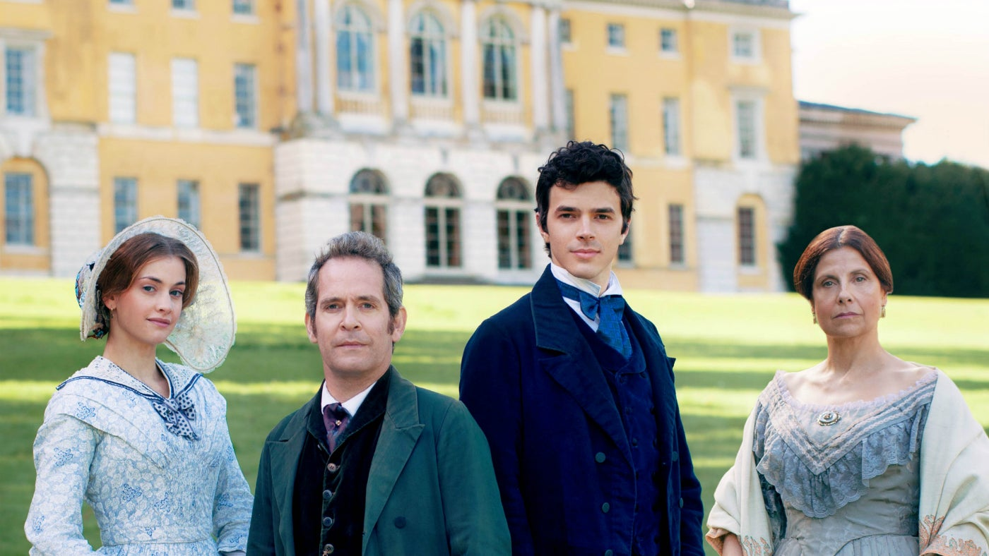 The cast of Dr Thorne on location at West Wycombe house
