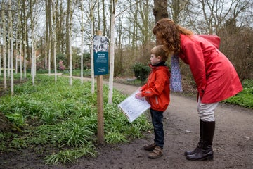 A child completes a trail with his mum in the garden at Dunham Massey