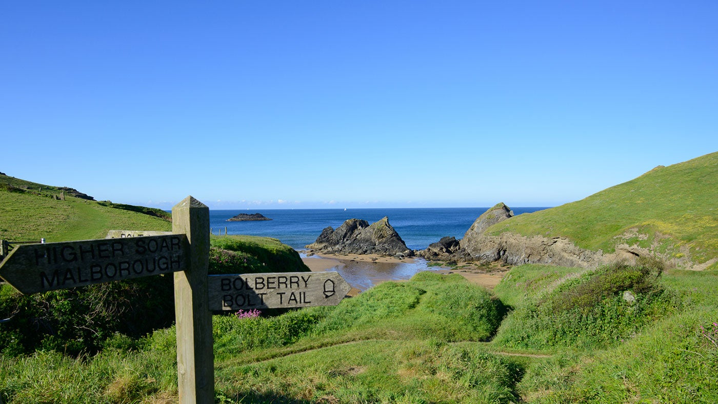 There are stunning walks along the coast path around Salcombe, Soar Mill Cove and Hope Cove