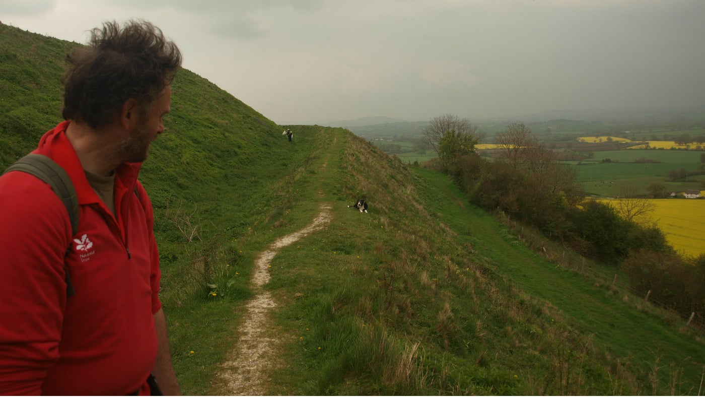 National Trust ranger looking back on Hambledon Hill