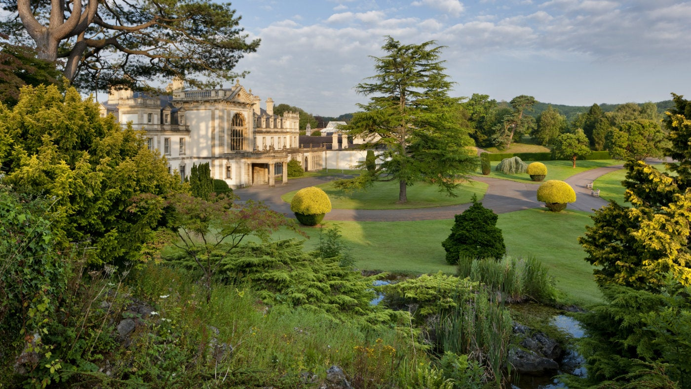 A view from the arboretum of the front of Dyffryn House