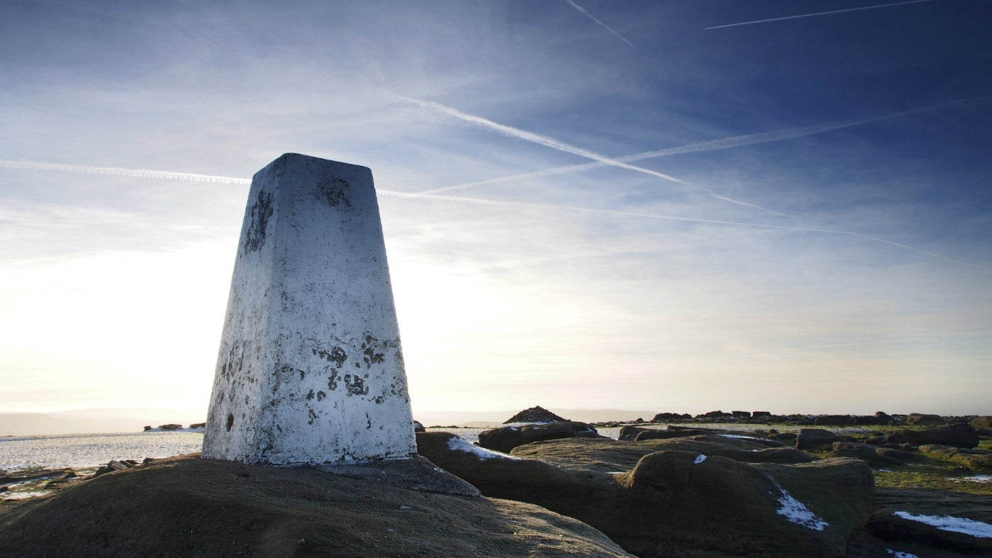 white trig point on Kinder Scout