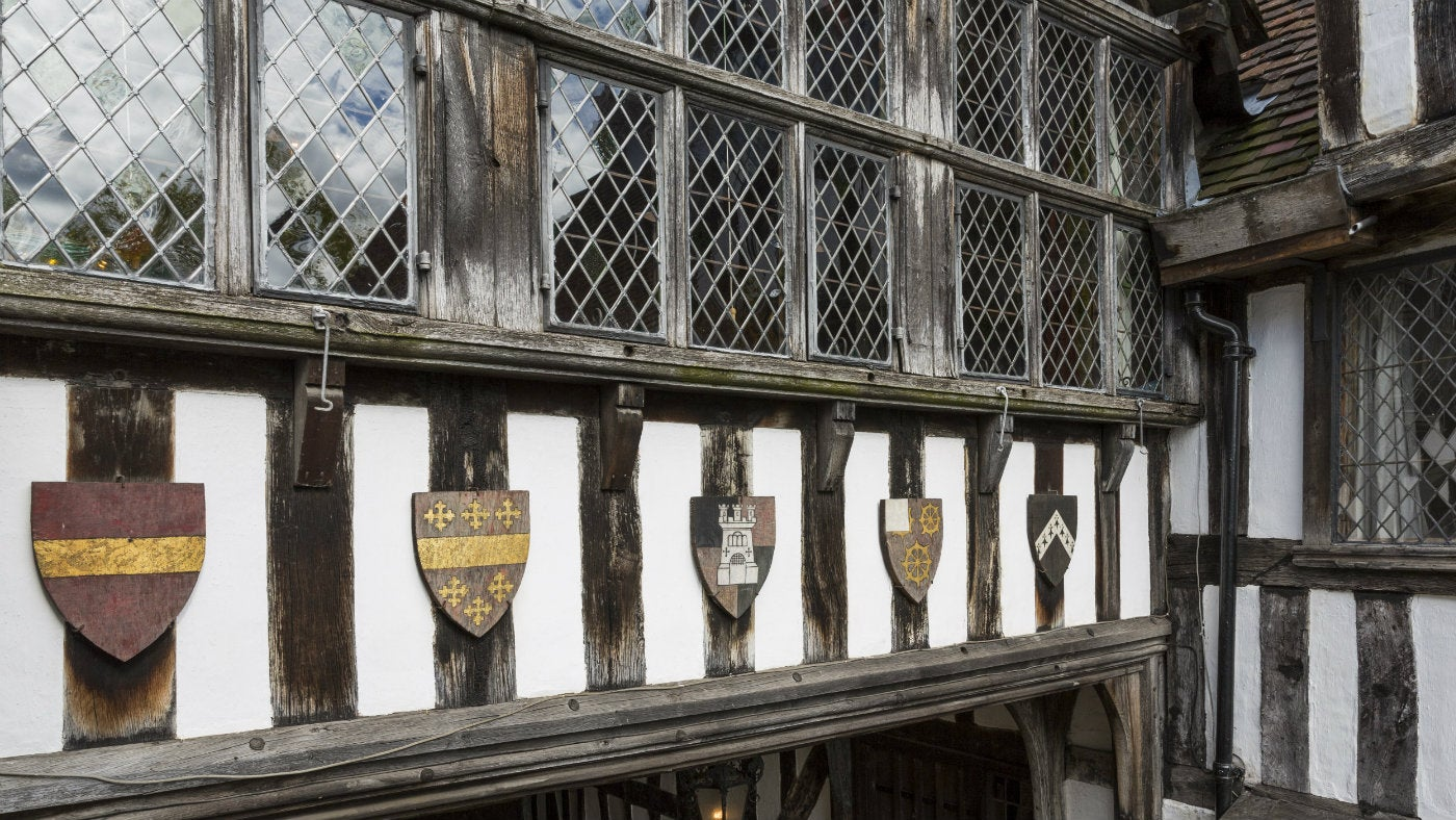 Windows and shields at Greyfriars